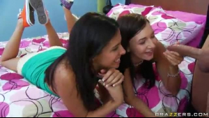 Skinny teen brunette Sara Ibarra likes to be fucked in the puffy, lesbian slit and moaning while cumming