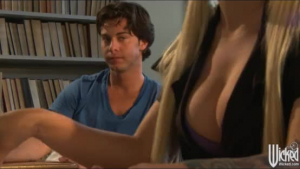 Seductive schoolgirl, Allie James and her hot classmate are often having sex in her bed