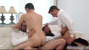 Gay couple having anal sex double penetration threeway