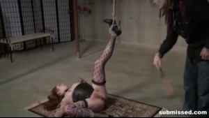 Adorable teen brunette is tied up and tortured with a glass fetish device in various places