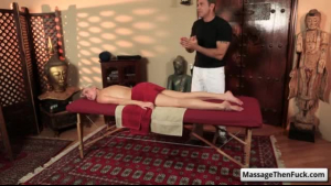 Insatiable blonde, Andrea got a relaxing massage therapy and wanted to have steamy sex in her massage studio