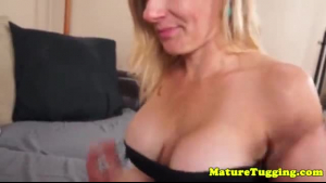 Young stud getting a face over her new MILF tits