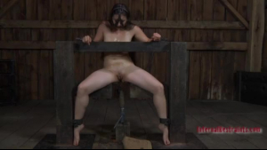 Gagged girl is going to get spanked in the storage room, because she is very disobedient