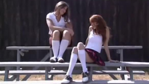 Dirty young schoolgirl pussy pumped on a station bench