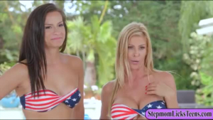 Jill Kassidy and Alexis Fawx are licking each other's pussy, while sitting on the sofa