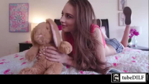 Seductive blonde step daughter is giving her horny step-dad a footjob every once in a while