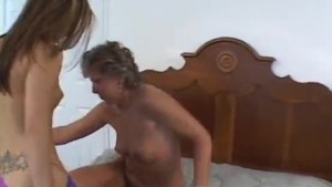 Young and old lesbians rubbing and licking