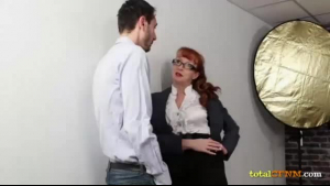 Sexy CFNM MILF jerks off her slave