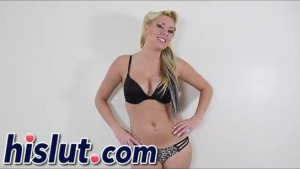 Blonde slut, Lilly Bentley is used to taking a massive meat stick, in her curvy ass
