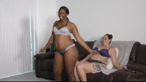 Ebony beauty with big, bouncy tits is riding a big, white dick good with pleasure