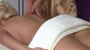 Sweet blonde masseuse knows how to make her client moan in most erotic situations