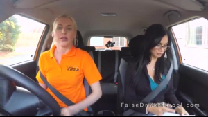 Driving undervalued whore throatbanged by hot agent