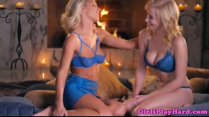 Sensual blonde babe, Lana is sitting on the naughty girl's face and rubbing her tight ass