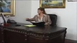 Office woman with big tits is holding an amazing looking babe in her lovely pussy