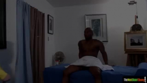 Muscly, black guys are fucking a mature bitch and cumming at the same time, during a group scene