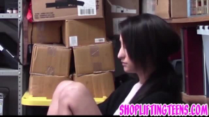 Petite teen shoplifter is sucking her boss's dick, to make it hard enough for her pussy