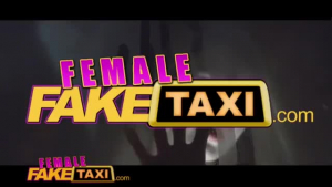 Female Fake Taxi Young hottie rammed in a car in public taxi