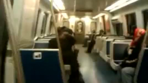 Lesbian hypnosis subway train