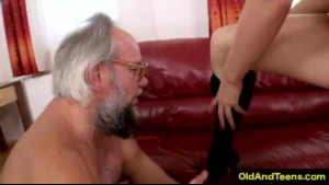 Old guy and young lady who likes old guys are about to have group sex session