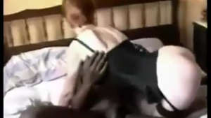 Red haired hentai babe and her horny guy are having wild sex, in a huge bed