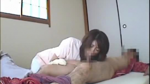 Mature Japanese nurse with glasses likes to do her homework better than to take care of patients