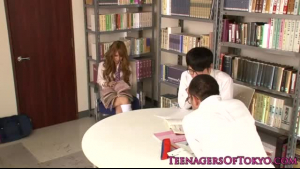 Adorable schoolgirl in stockings gangbanged by her teacher