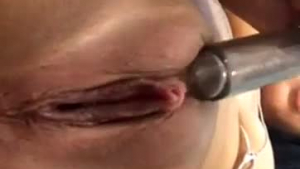 Fat blonde with big, bouncy tits is masturbating in front of the camera, because she needs money