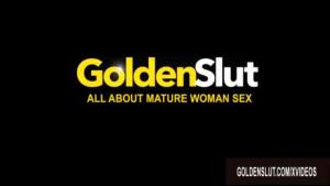 Mature brunette in beige panties teasing