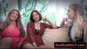 Ophelia Skye and Irina S iadori are sucking a stiff cock and taking turns fucking it