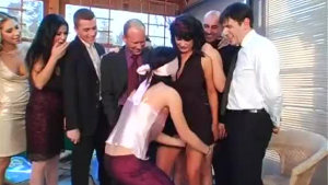 Interracial lesbian party MILF got creamed up and some fatty pussy fucks