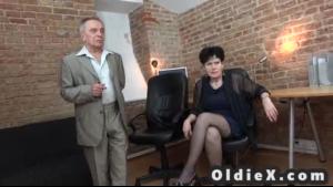 Young and elderly men enjoying lesbian sex