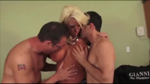 Tanned blonde in pink fishnet stockings is about to have casual sex with her step- daddy