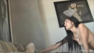 Bad teen shows her pink, pink vintage hand under photographer bush