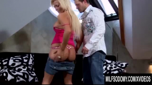 Lovely blonde mom in lingerie gives stepson a blowjob and seduces him