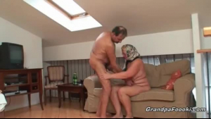 Blonde granny is sucking her future boyfriend's dick, while he is getting ready to cum.