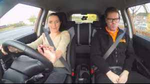 Fake Driving School takes famous geek Tina Strong to Car park