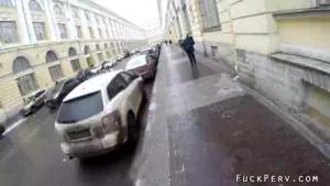Sucking stranger on police street in London mall