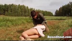 Bigtits lesbian slave Mary sucks on Arousing pink strapon