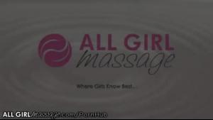 Lesbian massage leads to loud solo pleasuring