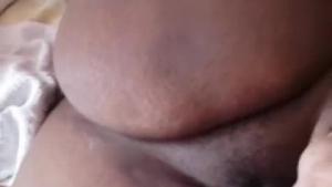 Huge tits Ebony amateur milf gives handjob and footjob for facial