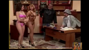 Tranny Monica Daniels in threesome in the casting couch