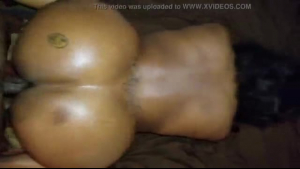 Thick ebony gets big dick in ass and pussy