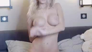 Blonde amateur cutie with big tits gets her shaved pussy fucked her in front of her boyfriend at home