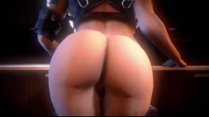 Katana Kombat is wearing only black stockings while getting her tight ass fucked, from behind