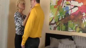 Naughty lady is wearing glasses while fucking a guy who is not her husband.
