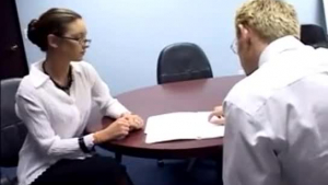 Cute, small titted blonde is having gentle sex with her co- worker in her office
